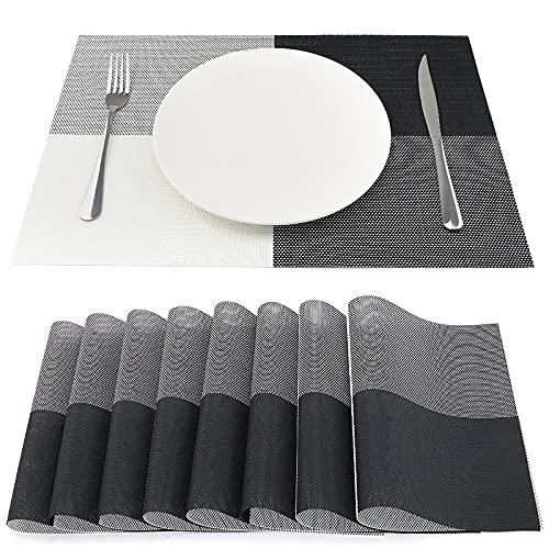 SueH Design Lot de 8 Sets de Table 45 * 30 CM Vinyle Tissé Noir