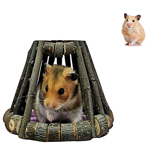 Yangwx, casetta per criceti in legno, giocattolo da masticare per cincillà, in legno naturale di mela per piccoli animali domestici, cincillà, criceti, porcellini d'India, gerbilli, topi (14 x 10 cm)