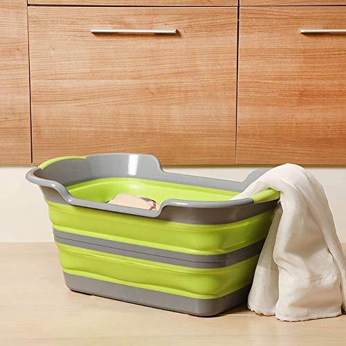 YDD Kinder Wasch Wanne Faltbar Kleider Korb Sundries Behälter Haustier Whirlpool Kinder Badewanne Mehrfunktional Haustier Bad Aufbewahrungsbox- Grau Grün
