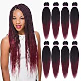 8 Packs Ombre Burgundy Pre-stretched Braiding Hair Easy Braid Professional Itch Free Synthetic Fiber Corchet Braids Yaki Texture Hair Extensions Hot Water Setting EZ Braid Hair(20 Inch, 1B/Bug#)