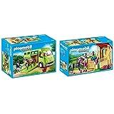 Playmobil Country Transporte De Caballo con Holstein Y Jinete En Traje De Adiestramiento + Country Caballo Árabe con Establo, Caballo Negro Y Detalles Morados, A Partir De 5 Años (6934)