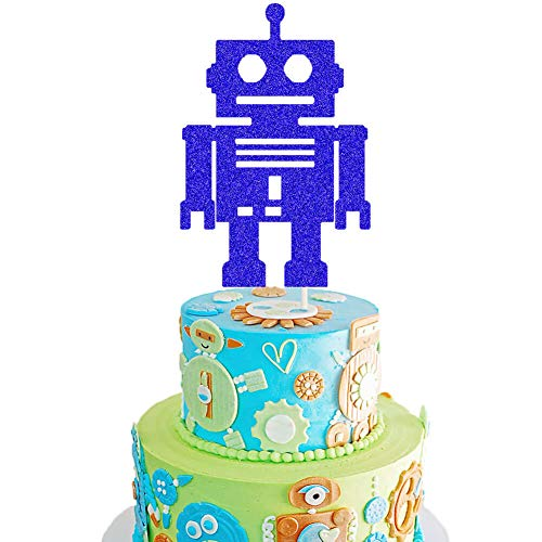 Robot Cake Topper Robot Baby Shower Cake Decor Android Robot/Mechanical/Fully Assembled/Space Themed 1st 2nd Birthday Party Cake Supplies Decorations
