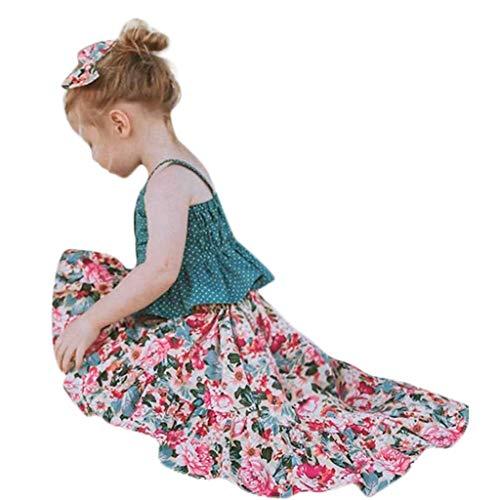 YUAN YUAN Mädchen Kleid, Kleinkind Baby Sleeveless Dot Straps Shirt Tops Floral Rock Weste Rock Kleidung Sets