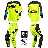 O'Neal Element Racewear Neon Yellow Men Motocross MX Off-Road Dirt Bike Jersey Pants Combo Riding Gear Set (Pants W32 / Jersey Medium)