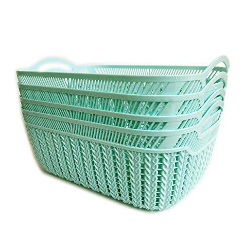 Baskets for Organizing Storage Baskets for Shelves Pantry Organization and Storage Stackable Plastic Storage Bins Kitchen Organization Cabinet Organizers and Storage Kitchen Pantry Blue Tint Turquoise
