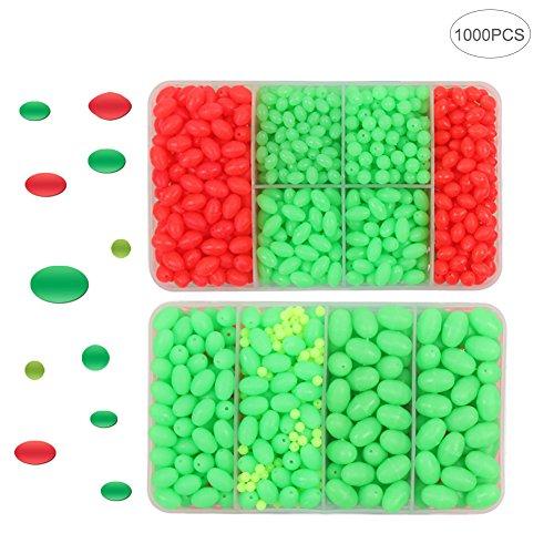 Croch Perlas para Cebo de Pesca, Huevos de 8tamaños Diferentes, 1000 Unidades, Luminosas (Solo Las de Color Verde)