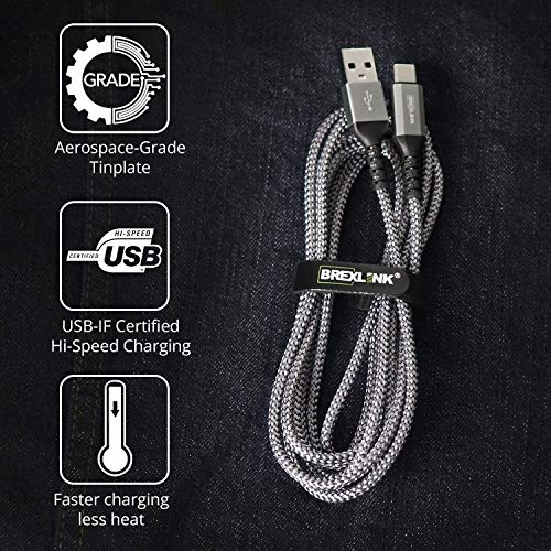 USB C Cable Samsung Galaxy S8 Charger,BrexLink USB C to USB A Charger (6.6ft/2 Pack), Nylon Braided Fast Charging Cord for Samsung Galaxy S10 S9 S8 Note 9, Pixel, LG V30 G6, Nintendo Switch(Grey)