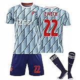 KHLKGMW Zîyëc Camiseta de fútbol de la marca NO.22 Jersey Set Unisex Adulto Blanco Jersey de Fútbol con Calcetines XXL