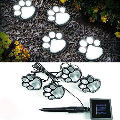 Dergo Paw Print, Hot 4 Solar Dog Cat Animal Paw Print Lights Garden Outdoor LED Path Lamp Auto On, LED Light (Multicolor), Easter Products Decoration Onsale
