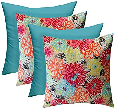"""Set of 4 - Indoor/Outdoor Square Decorative Throw/Toss Pillows - Yellow, Orange, Blue, Pink Bright Artistic Floral & Cancun - Choose Size (17"""" x 17"""")"""