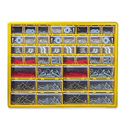 ✔️ 44 DRAWERS - The Pukkr 44 Drawer Storage Cabinet is the perfect addition for organising. With 12 larger drawers and 32 smaller drawers, keep your nails, wall plugs, nuts and bolts together; ready for the next home improvement project! ✔️ FREESTAND...
