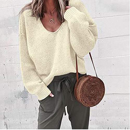 XXYQ Pullover, Stranger, casual, gebreide trui, dames, streetwear, V-hals, lange mouwen, losse jas, solide herfst, winter, dames, pullover, L