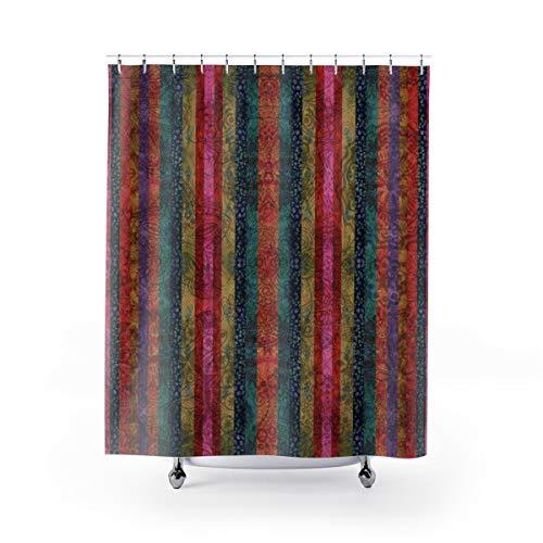 Mike21Browne Boho Decor Duschvorhang Batik Stripes