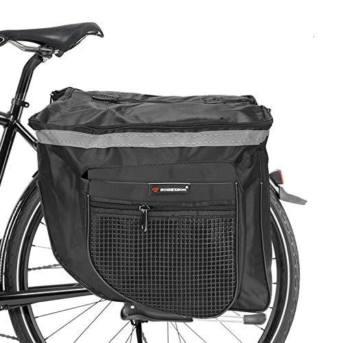 ASANMU Alforjas para portaequipajes, bolsa para bicicleta, bolsa para portaequipajes, impermeable, doble alforja, bolsa multifuncional, para bicicleta de montaña, bicicleta de carretera, color negro