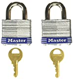 Master Lock 3T 1-9/16-Inch Wide Keyed-Alike Padlock, 9/32-Inch Shackle, 2-Pack