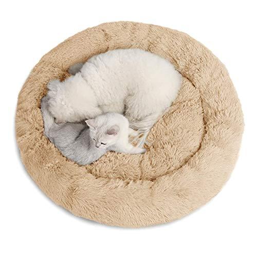 JUZIPS - Sofá de cama portátil para gato, perro, con rosquillas, cama calmante de felpa, acogedora cama con base antideslizante, lavable a máquina, beige, 100 cm