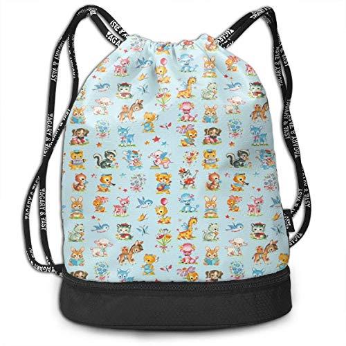 Drawstring Backpack Bag Sport Gym Sackpack Best Baby Animals Aqua Poodle Shoulder Bags