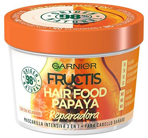 Garnier Fructis Hair Food Mascarilla Capilar 3 en 1 Papaya Reparadora para Pelo Dañado Pack de 3 - 390 ml x 3