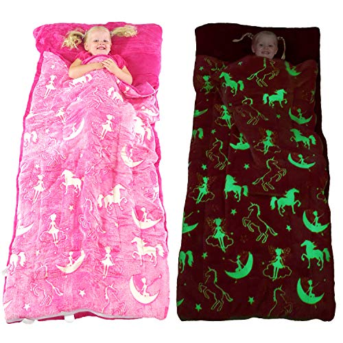 Unicorn Sleeping Bag Glow in The Dark Fairy Slumber Bag for Girls - Plush Glowing Girly Nap Mat for Kids- Luminescent Pink Large 66in x 30in Warm Durable Sleeping Blanket Pad for Girls - Unicorn Gift