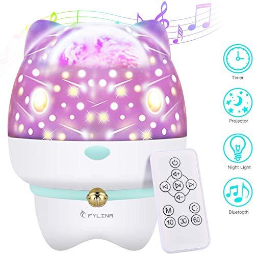 DOOK projectorlamp, 360 graden draaiend nachtlampje projectie met bluetooth muziek TF-kaart poort afstandsbediening voor kinderen camping party