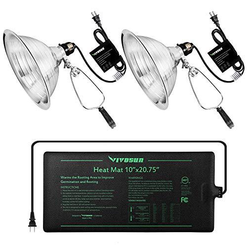 VIVOSUN Durable Waterproof Seedling Heat Mat 10quot x 2075quot and Clamp LampNo Bulb Included Bundle