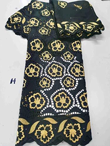 Tela de encaje africano negro barato con tocado Encaje de gasa suizo...