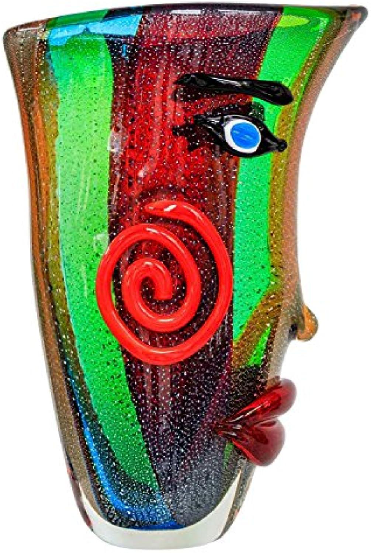 Glasvase Vase Gesicht Glas im Murano Antik Stil 38cm