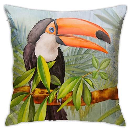 862 Funda de almohada de loro, diseño de pájaro, con texto en inglés 'The Lovely Bird Perched On The Palm Ranch', fundas de almohada de poliéster, fundas de almohada para dormir de 45 x 45 cm