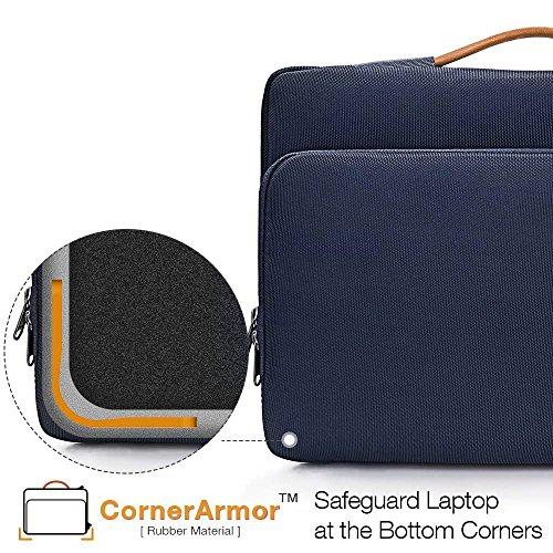 tomtoc Laptop Aktentasche Hülle kompatibel mit 12,3 Zoll Surface Pro, Neu MacBook Air 13 Zoll Retina A1932, Neu MacBook Pro 13 Zoll A2159 A1989 A1706 A1708, Dell XPS 13 Tasche Tragetasche Dunkel Blau - 5