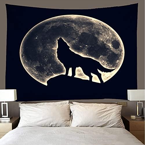 binghongcha Tapiz 3D Luna Noche Lobo A202 Mandalatapestries Esterilla De Yoga Manta De Toalla De Playa, Sábana De Playa De Picnic, Mantel, Boho, Colgante De Pared Decorativo 150X200Cm