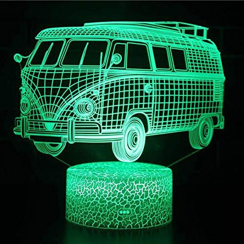 3D nachtlampje bus model 7 kleuren afstandsbediening touch slaapkamer lamp hoofddecoratie, kinderen kerstcadeau