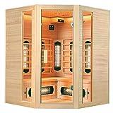 Artsauna Eck Infrarotkabine Nyborg E150V Vollspektrumstrahler & Ambiente LED Beleuchtung – Kabine für 4 Personen – 150 × 150 cm – Wärmekabine - 3