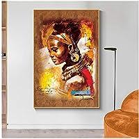 大きいサイズカラフルなアフリカの芸術女性抽象的な肖像画キャンバスに油絵ポスターとプリントリビングルームの装飾のための壁の芸術写真40x60cm(16x24in)