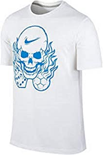 Men's Manifesto Flaming Skull Soccer Dice Dri-FIT Cotton T-Shirt Size M White