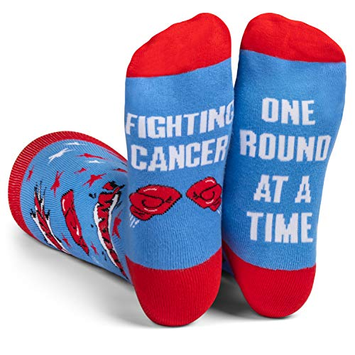 Beat Cancer Socks - Gift for Cancer Survivor or Chemo Patients - For Men and Women (Blue Beat Cancer)