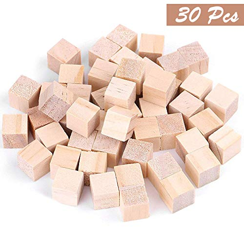 Kurtzy 30 Piezas Cubos de Madera Lisos Sin Acabar - 3 x 3cm Set Cubos Pequeños - Perfectos para Sellos, Artes y Manualidades, Plantillas, Proyectos de Alfabeto y Números y Bricolaje