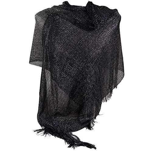 Emila Stola nera cerimonia coprispalle elegante a rete con frange foulard scialle grande lurex da matrimonio per abito da sera giorno primavera estate 2020 estivo Nero laminato