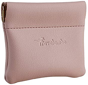 Travelambo Leather Squeeze Coin Purse Pouch Change Holder For Men & Women  Access Pink Champagne