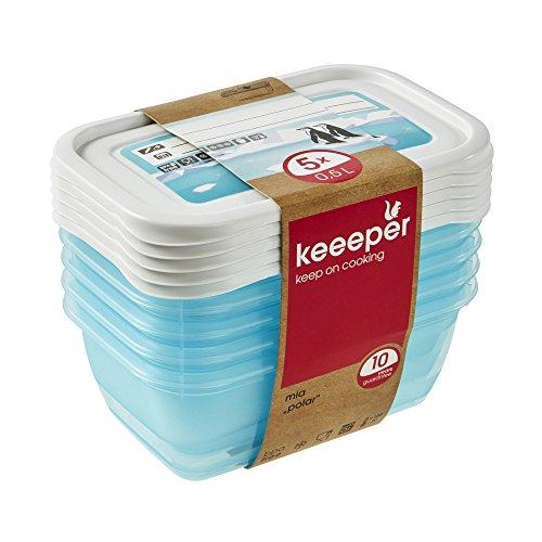 keeeper Tiefkühldosenset 5-teilig, Wiederbeschreibbarer Deckel, 5 x 500 ml, 15,5 x 10,5 x 6 cm, Mia Polar, Eisblau, Plastik, ice blue transparent, 5X 500 Einheiten