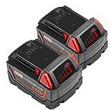 LabTEC 2 paquetes de baterías M18 de 18 V 5500 mAh de repuesto para Milwaukee batería de 18 V M18 48-11-1840 48-11-1828 48-11-1820 48-11-1815 48-11-1850