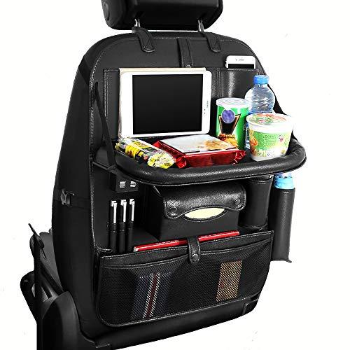 PU Leder Autositz Zurück Organizer Faltbare Esstisch Tablett für Kinder mit 4-USB Ports iPad Halter Multi Taschen für Flaschen Tissue Box Regenschirm Snacks Spielzeug (Schwarz)