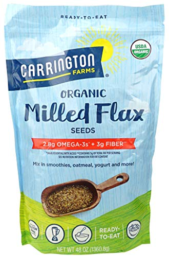Carrington Farms Certified Organic Milled Flax Seeds - No cholesterol - Cold-Milled Processed - 48 Ounce - 3 lbs