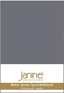 Janine Mako 5007 Drap-housse en jersey de coton mako Gris opale (48) 140 x 200 cm à 160 x 200 cm