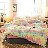 Plush Shaggy Duvet Cover Twin, Velvet Bedding Set, 2 Pieces (1 Faux Fur Duvet Cover + 1 Faux Fur Pillowcase), Luxury Soft Fluffy, Zipper Closure (Pink, Twin)