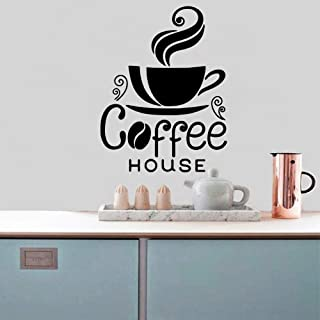WSYYW Coffee House Sticker Waterproof Vinyl Wallpaper Home Decor Kitchen Wallpaper Art Deco Wall Sticker Black XL 57cm X 74cm