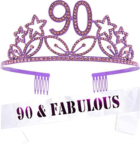 90th Birthday Gifts for Women 90th Birthday Tiara and Sash APPY 90th Birthday Party Supplies product image