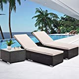 Harper&Bright Designs Patio Furniture Set, PE Wicker Rattan Chaise Lounge, 2 Steel Frame Reclining Chair Sunbed with Cushion, Tempered Glass Coffee Table, Ideal for Summer Outdoor Swimming Pool, Yard