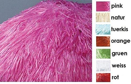 Jan Kurtz Hawaii Sonnenschirm, pink/rosa, Raffiabast - Polyester mit Knickgelenk Ø 180/200cm