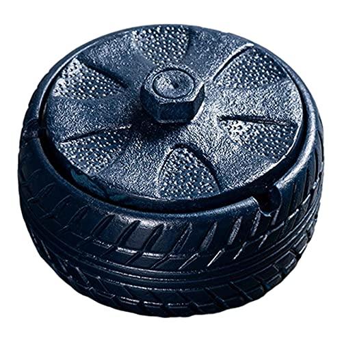 LAHappy Cenicero a Prueba de Viento con Tapas, Cenicero en Forma de Neumático, Cenicero de Cigarrillos de Cemento Creativa para el Hogar Oficina,Azul