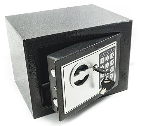 Bakaji–Pared Safe con numérico Digital 23x 17x 17cm electrónico de Seguridad Home Hotel Hotel Seguro + 4x Pilas AA y de Emergencia Llaves, Color Gris Oscuro